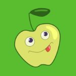 Green apple character cartoon illustration
