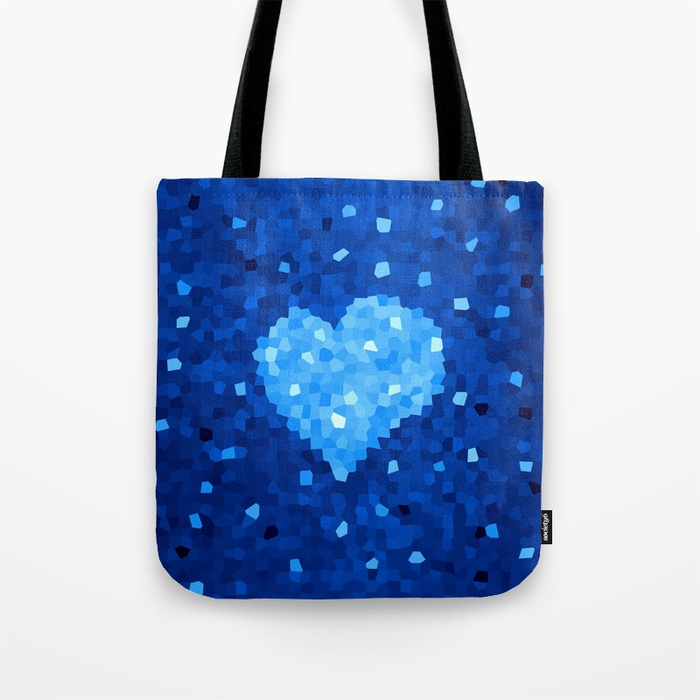 Crystal Blue Heart bag at Society6