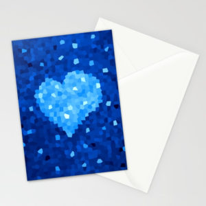 Crystal Blue Heart stationery cards at Society6