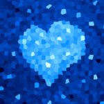 Crystal blue heart abstract illustration