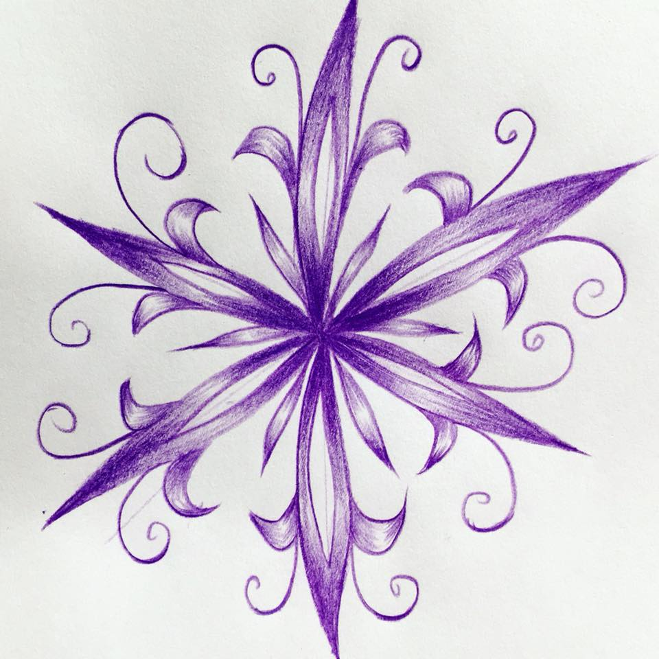 Pencil drawing of abstract flower with sharp leaves
