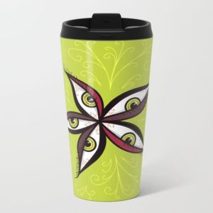 Bizarre illustration with green eyes travel mug at Society6