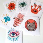 Art stickers with my illustrations from Redbubble