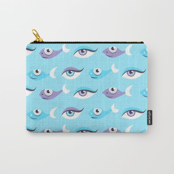 Eyes and fish pattern pouch at Society6