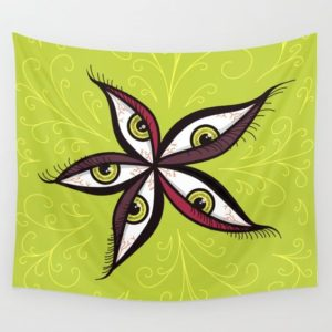 Bizarre illustration with green eyes wall tapestry at Society6
