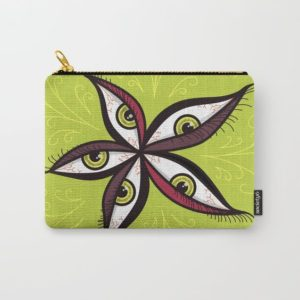 Bizarre illustration with green eyes zip pouch at Society6