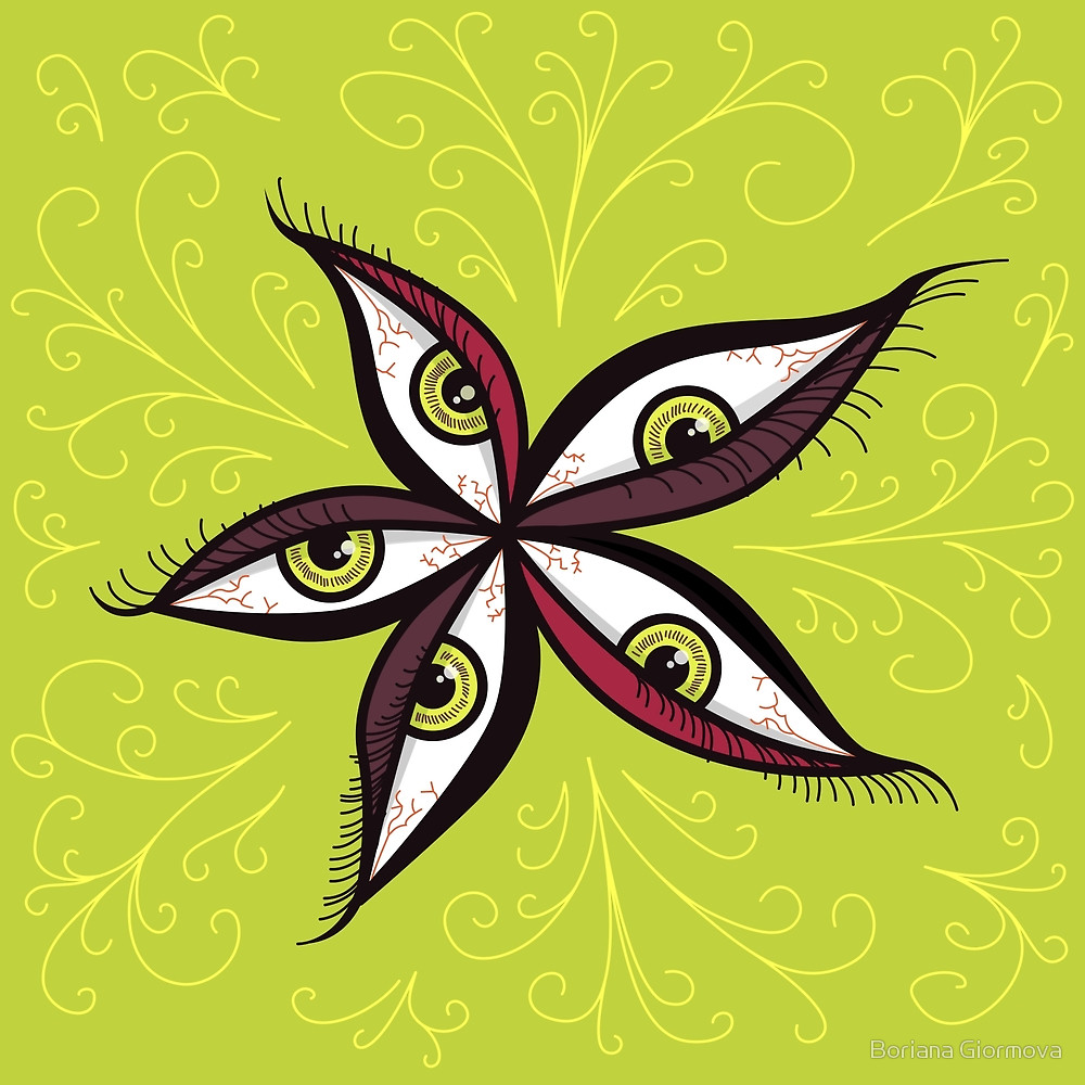 Weird illustration of a flower made form green eyes