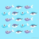 Eyes and fish pattern fun aquatic design