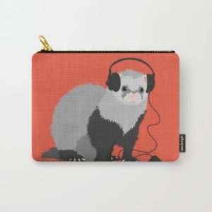 Ferret music lover pouch at Society6
