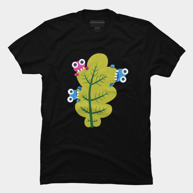 Bugs eat green leaf tee at Design By Humans