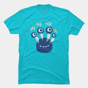 Blue four eyed happy monster tee at Design By humans