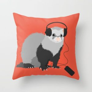 Ferret music lover pillow at Society6