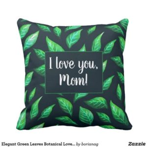 I love you mom customizable botanical pillow at Zazzle