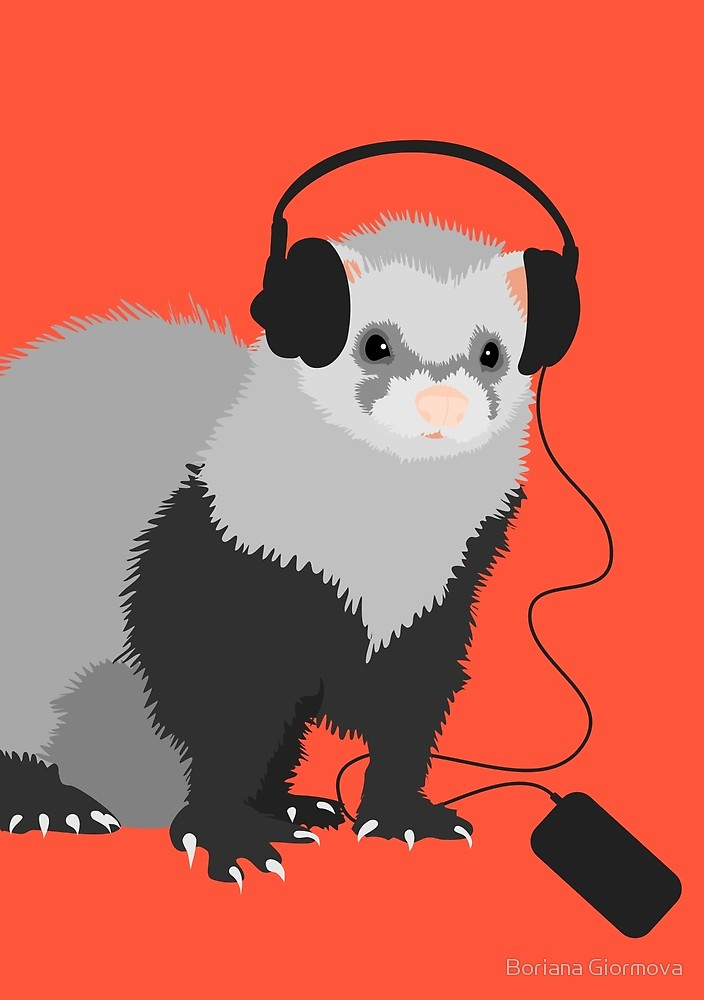 Ferret music lover art print at Redbubble