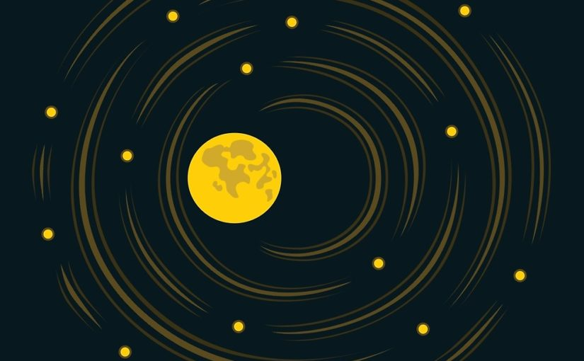Space Art Moon And Stars Vector Illustration