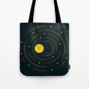 Space art moon and stars dream bag at Society6