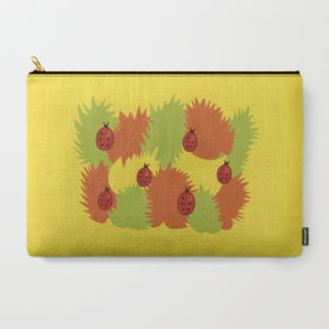 Autumn leaves and ladybugs pouch at Society6