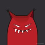 Evil monster with pointy ears vector art