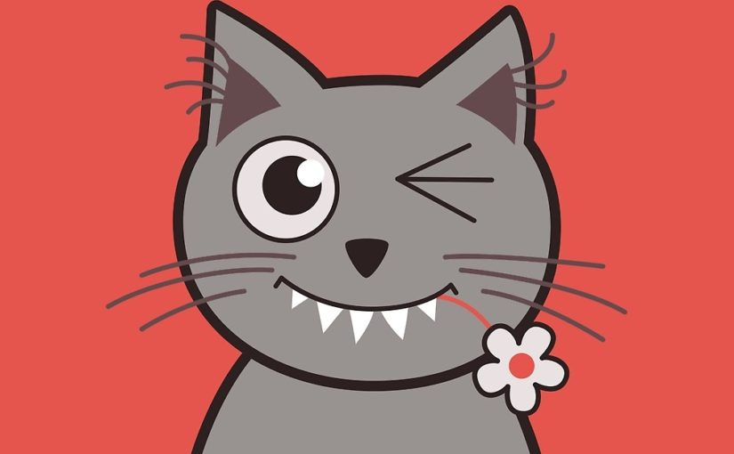 Cat wink cute kitty cartoon illustration