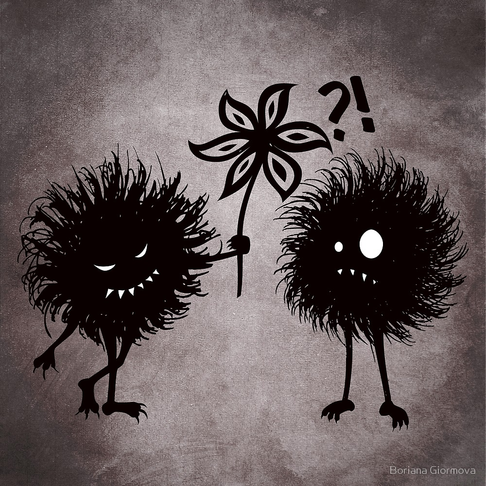 Evil bugs friends cute dark mixed media illustration art prints at Redbubble