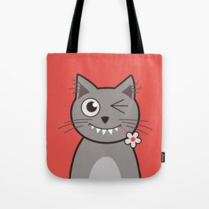 Cat wink cute cartoon kitty bag at Society6