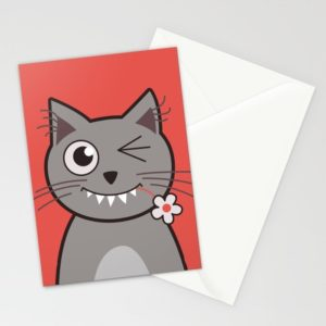 Cat wink cute cartoon kitty cards at Society6