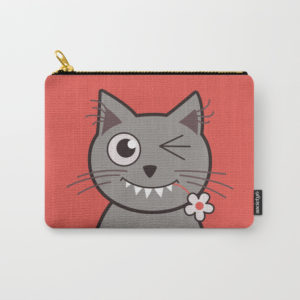 Cat wink cute cartoon kitty zip pouch at Society6
