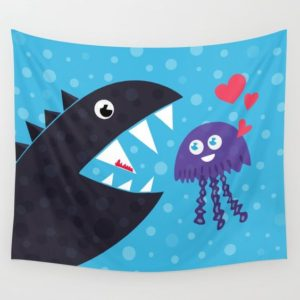 Cartoon jellyfish and sea monster in love tapestry at Society6