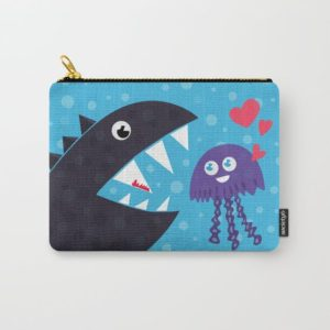Cartoon jellyfish and sea monster in love pouch at Society6