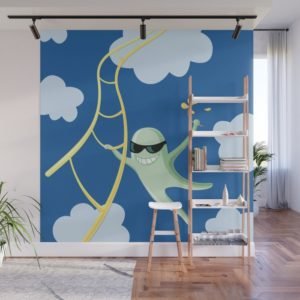 Funny character wall mural at Society6
