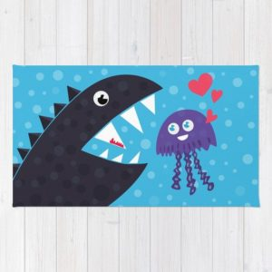 Cartoon jellyfish and sea monster in love rug at Society6