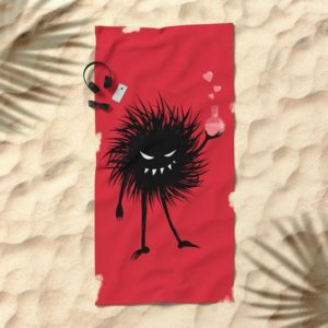 Evil bug chemist with love potion beach towel at Society6