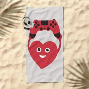 Gamer heart beach towel at society6