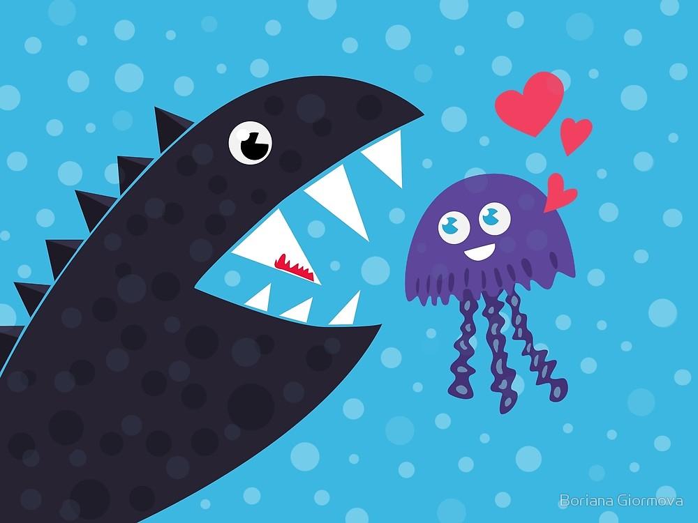 Cartoon jellyfish and sea monster in love vector illustration