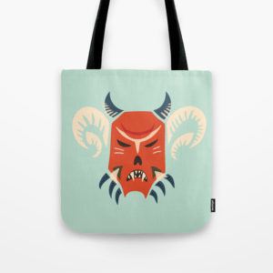 Horned demon mask bag at Society6