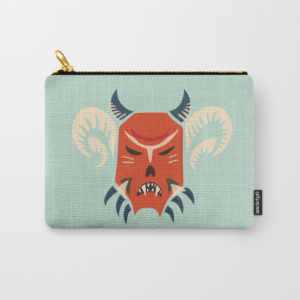 Horned demon mask pouch at Society6