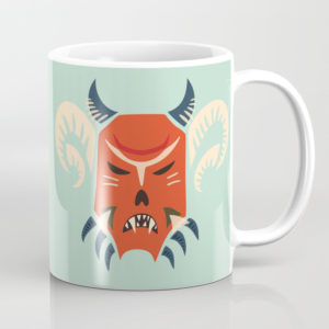 Horned demon mask mug at Society6