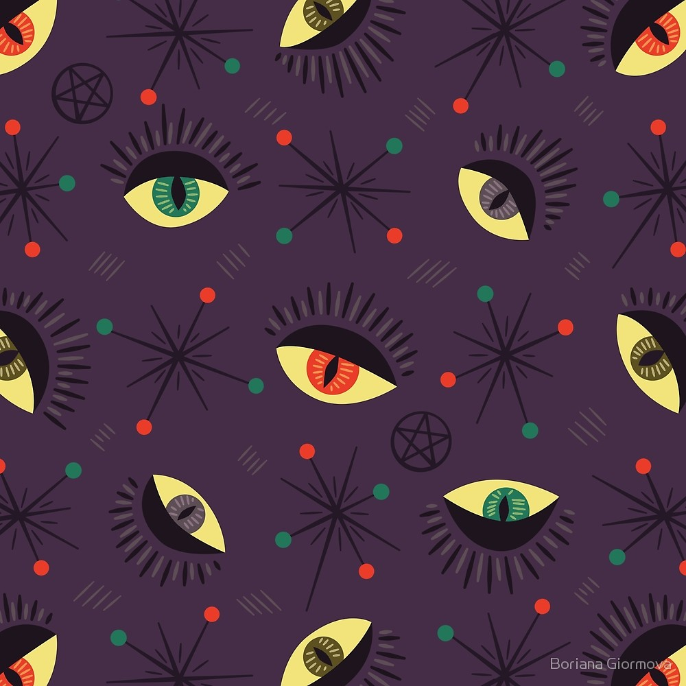 Halloween pattern with reptile witch eyes in retro style