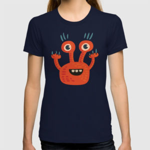 Funny orange monster tee at Society6