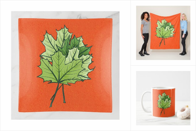 Maple Leaves in green and orange