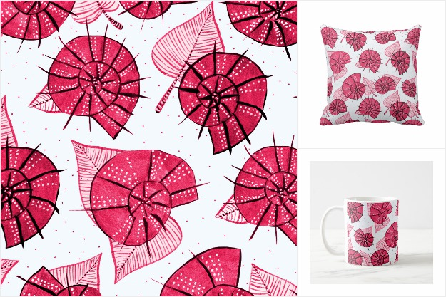 Snails and leaves pattern in pink