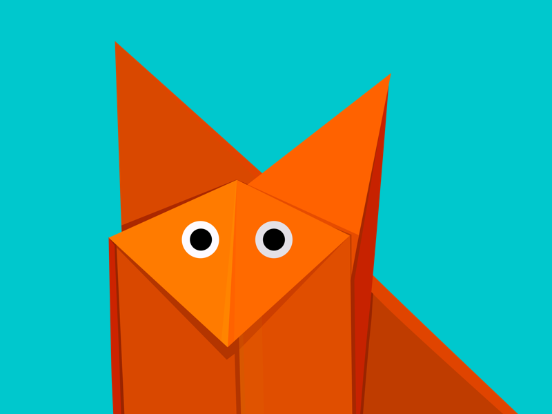 Cute geometric illustration of a cartoon fox origami