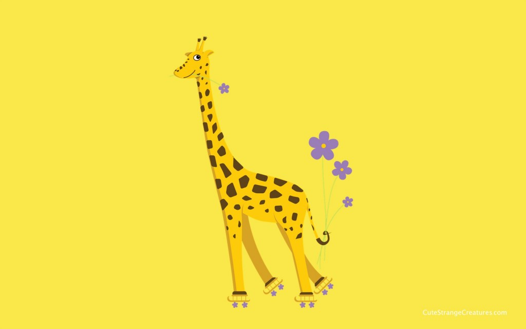 desktop wallpaper with a skating giraffe with resolution 1200x1920