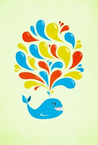 Bright happy cartoon whale iPhone wallpaper