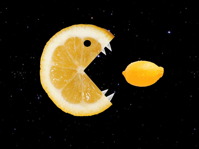 Funny lemon eats lemon digital collage