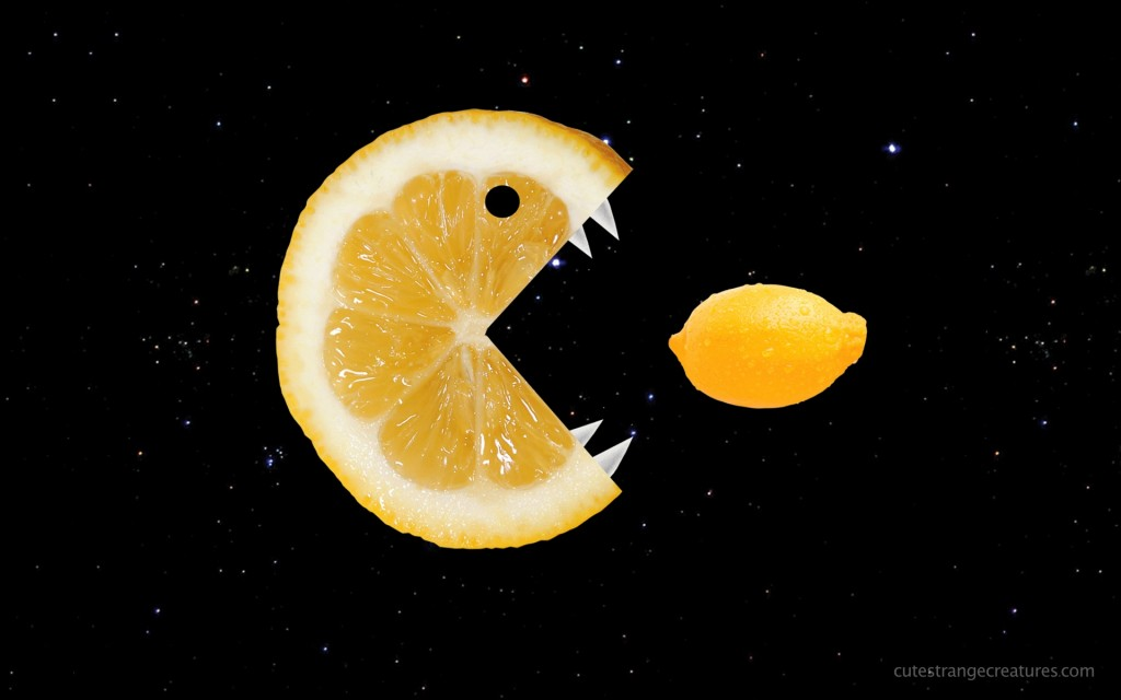 Funny lemon eats lemon desktop wallpaper