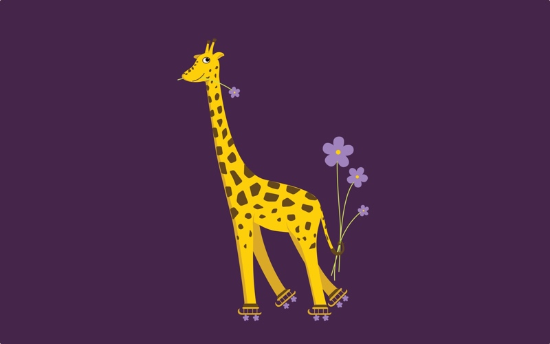 purple skating cartoon giraffe illustration