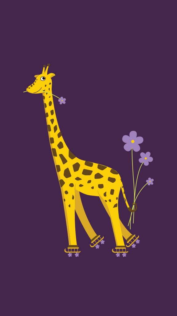 Purple skating cartoon giraffe iPhone wallpaper