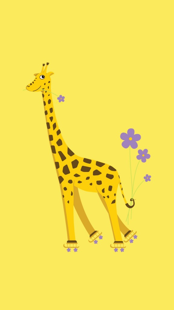 Yellow skating cartoon giraffe iPhone wallpaper