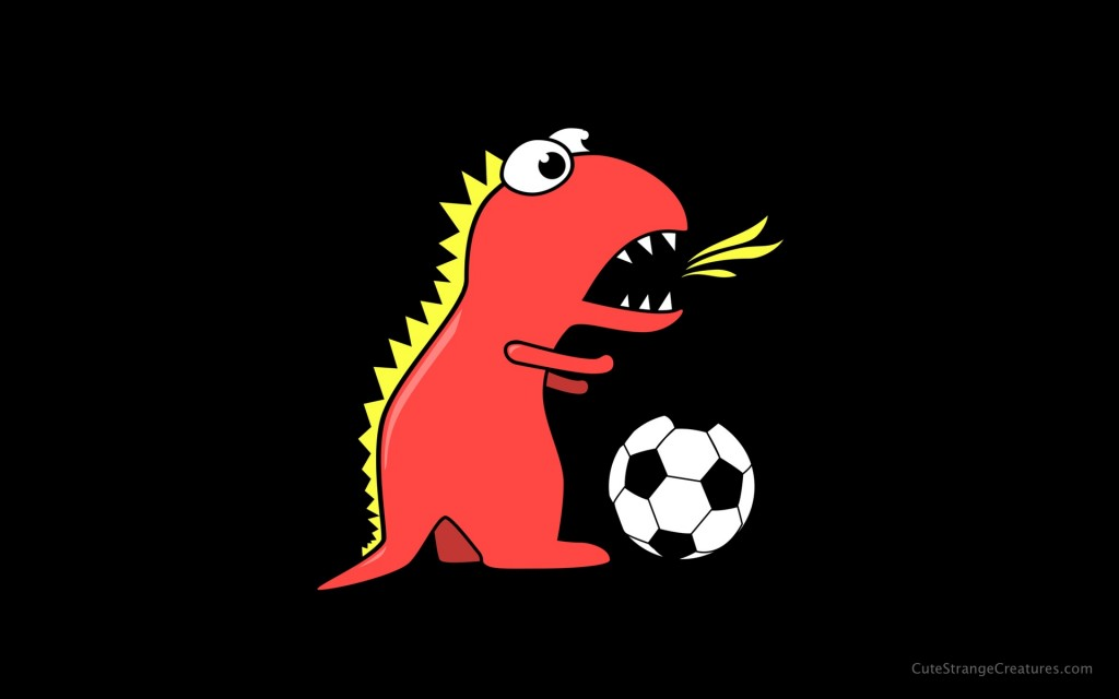 Black soccer playing dinosaur desktop wallpaper